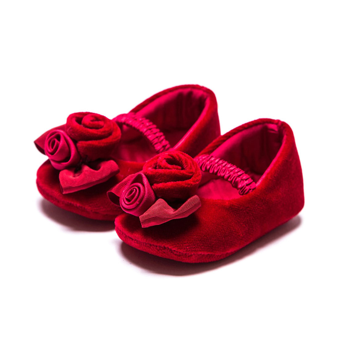 2017 baby red rose girl soft-soled flat shoes baby toddler shoes YH1143