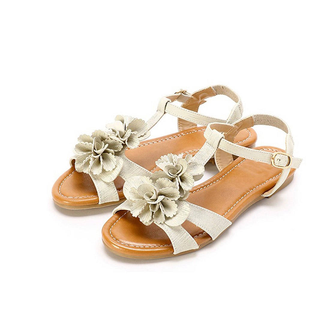 Latest ladies leather with flower buckle strap women flat sandal shoes YH1156