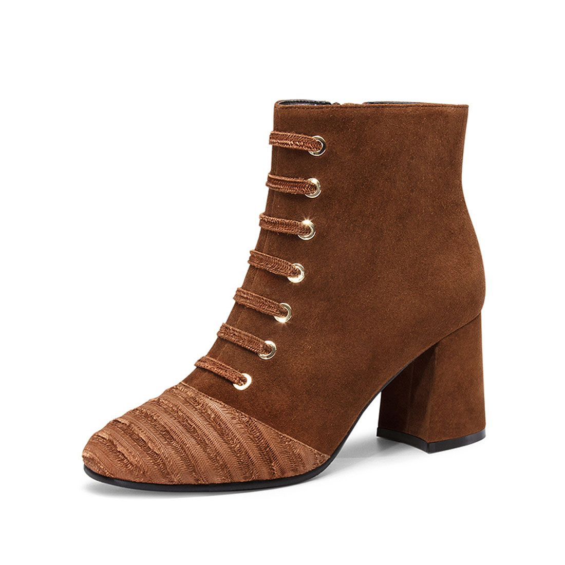 Factory suede splicing round toe women chunky heel ankle boot YH1174