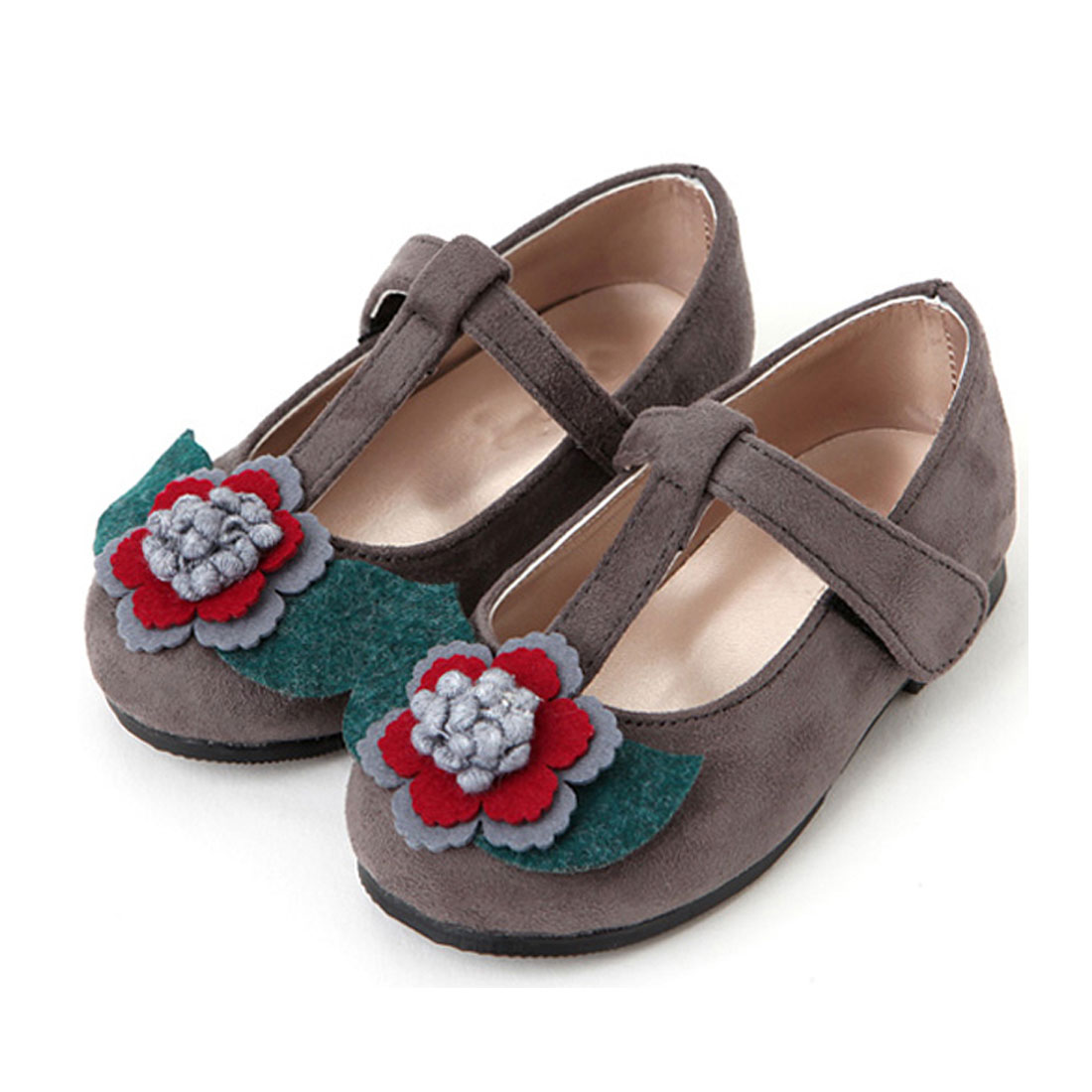 Suede with three dimensional flower casual children girls princess shoesYH1198