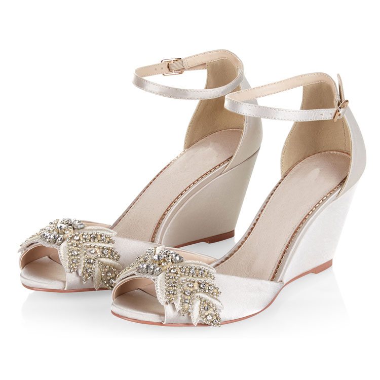 Ivory Stain upper with rhinestones women dress wedge sandal YH1205