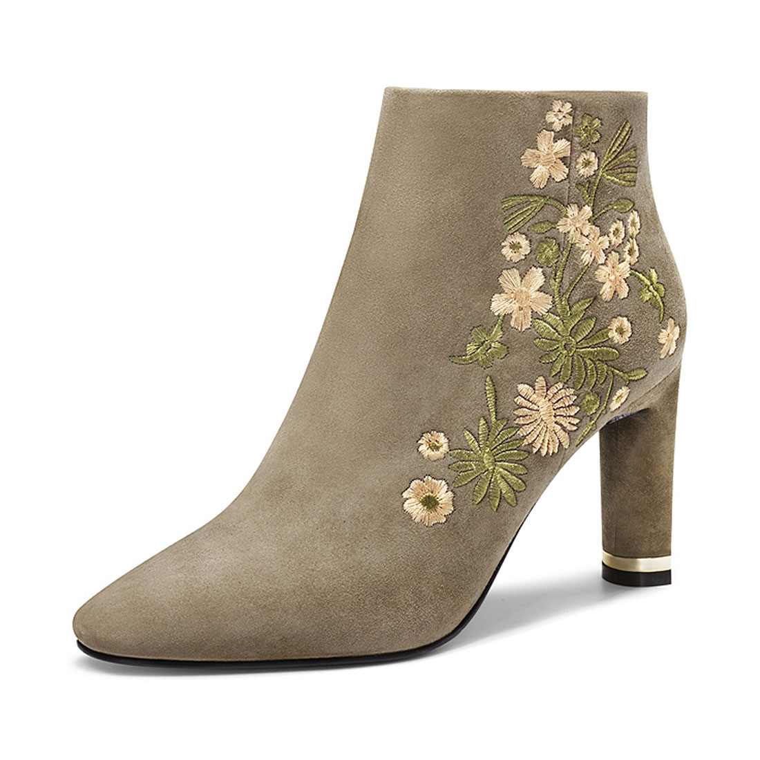 2018 suede leather with flower embroidery winter dress ladies ankle boot  YH1214