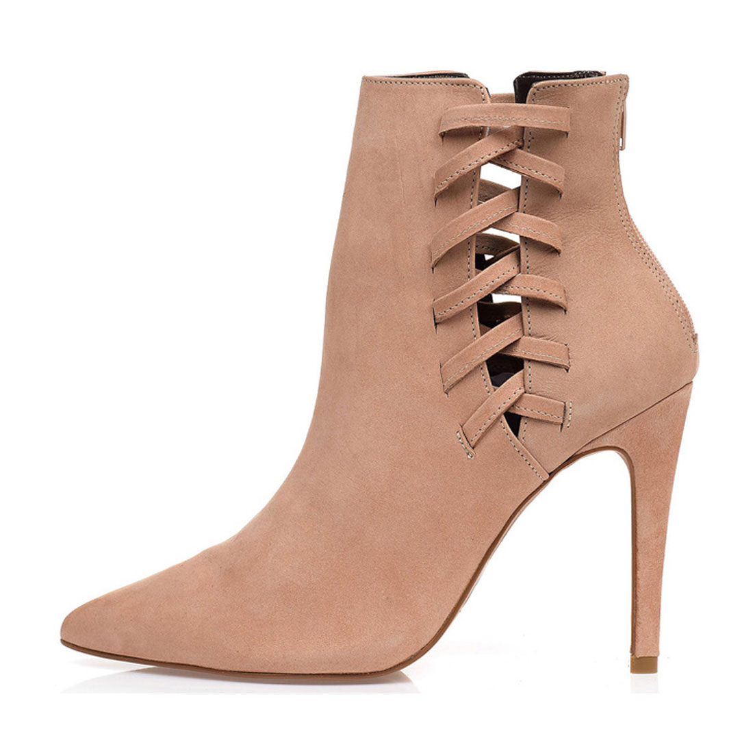 Really suede leather pointed winter high heel dress ladies ankle boot YH1215
