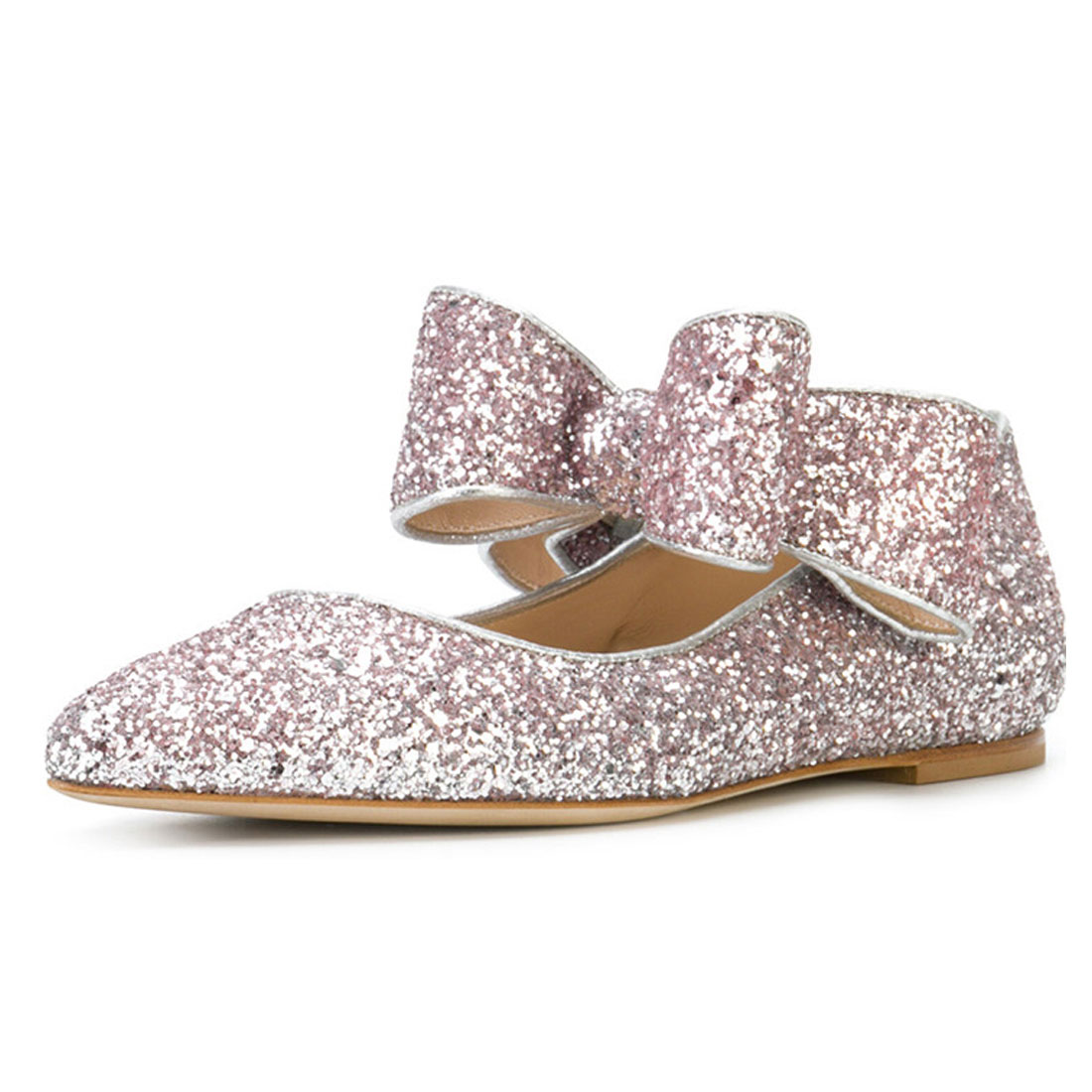 Glitter upper with bow strap beautiful pictures of women flat shoes YH1216