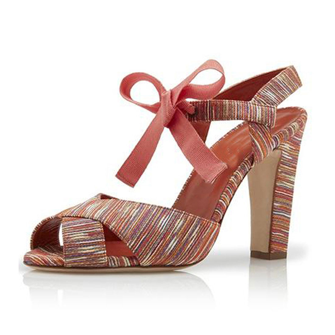 Colourful fabric upper with ribbon bow women shoes summer sandals HS9002