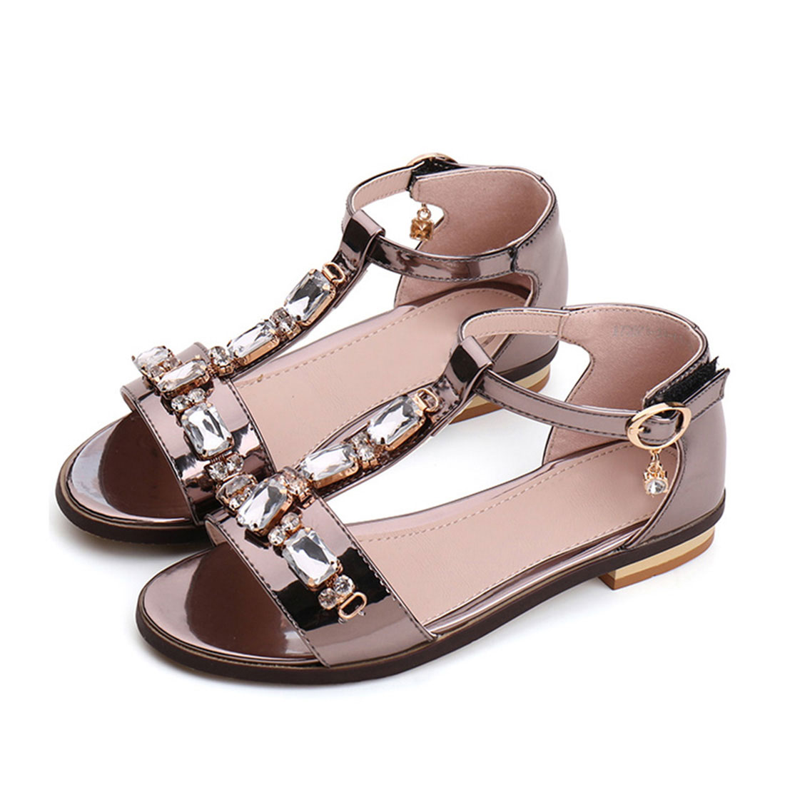Design for girls brown diamond sandals sexy image luxury baby shoes CS2097