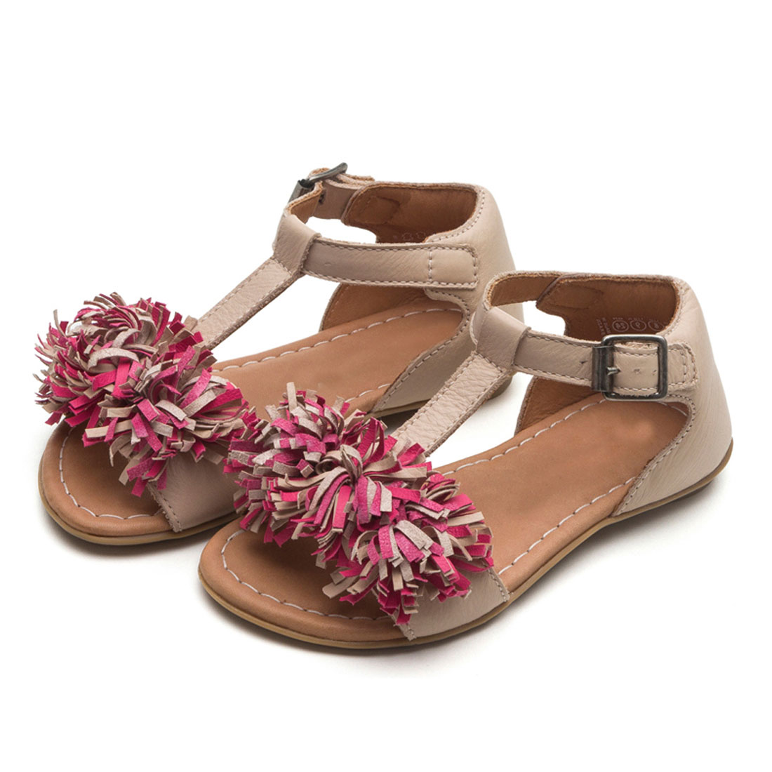 China Wholesale Leather Tassel Flower Kids Baby Girl Summer Sandal Shoes KD0114