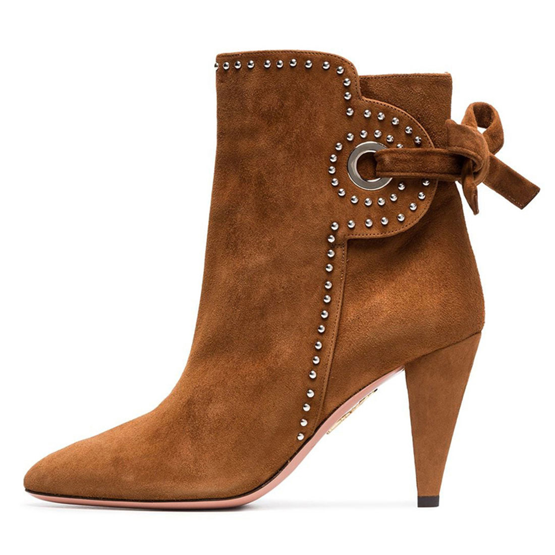 Designer Brown Suede Leather Chunky Heels Ankle Boot Women Shoes BT1942