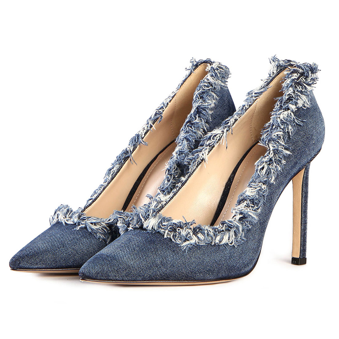Chaussures Femme Summer Women High Heel Shoes Denim Office Ladies Shoes HHS1285