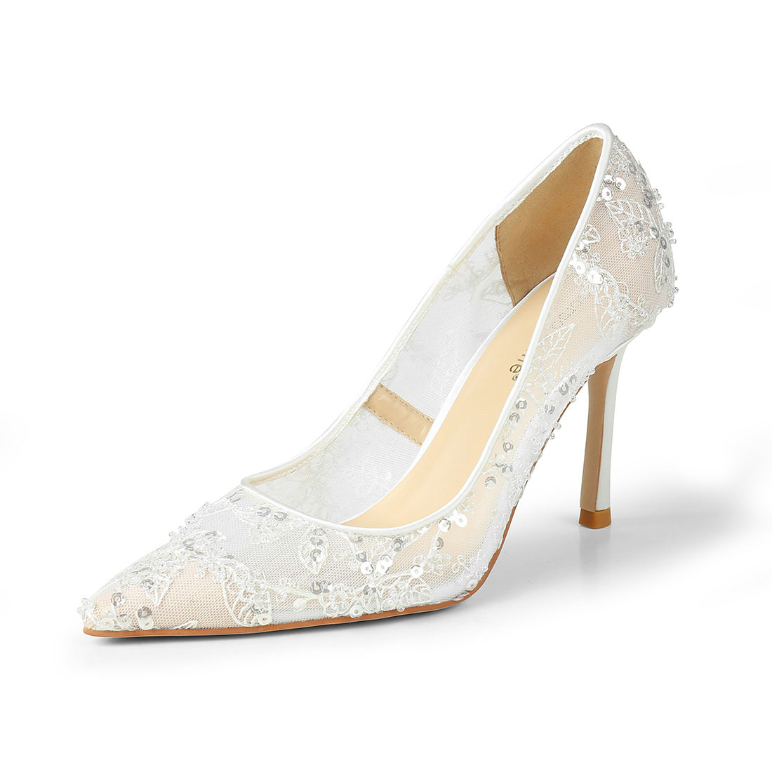 High Quality White Lace Lady Heels Pump Bridal Wedding Shoes For Bride WDS1023
