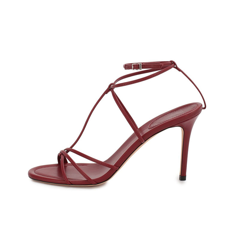 2020 red sexy fashion strappy women's high heel for dress shoes factory custom