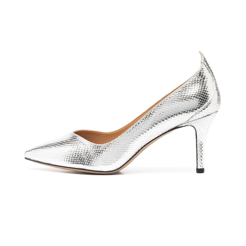 2020 new silver snakeskin shiny high heels for women wedding fashion sexy shoes