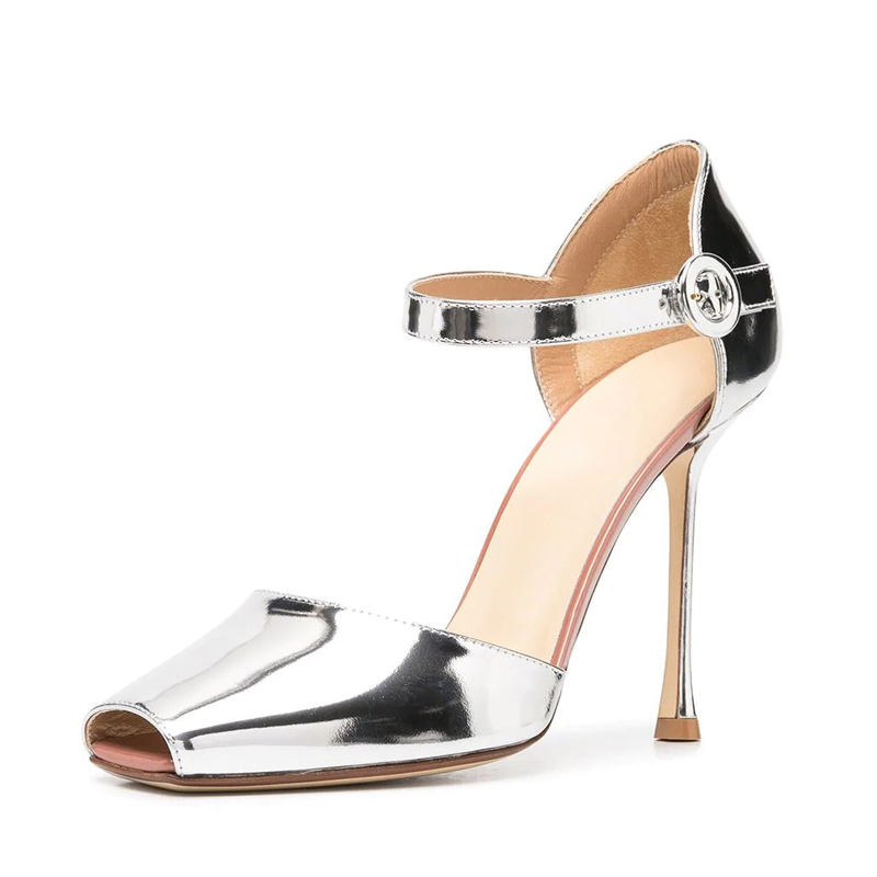 chunky light breathable square-toe stiletto heel women's sandal for dress shoes