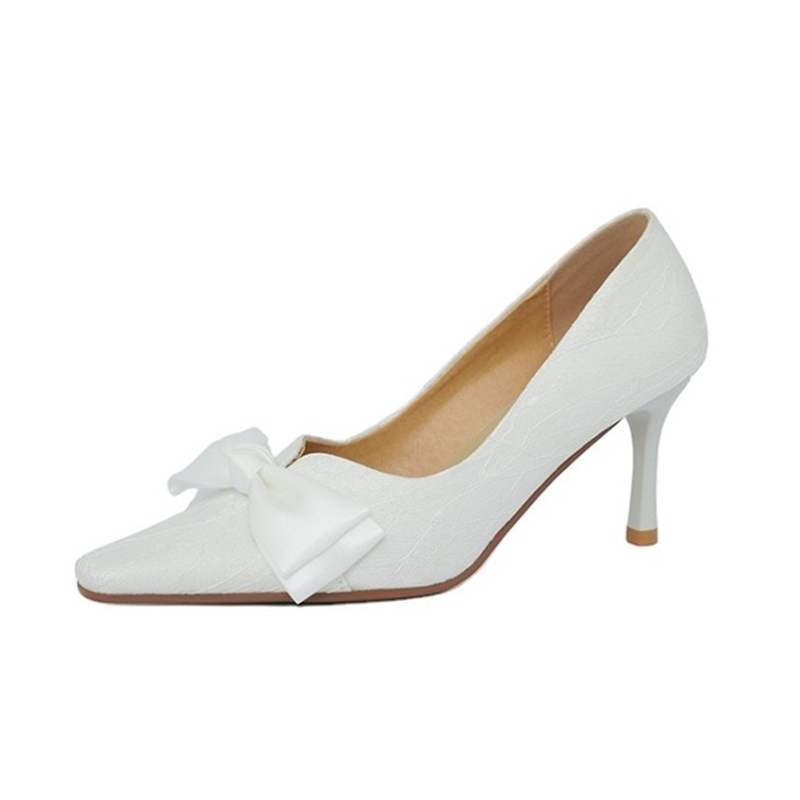 Lady Shoes High Heels New Design Slide in PU Leather White Lady Wedding Bow Shoe